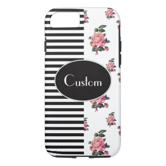 Half and Half Stripe and Rose Floral Custom Text iPhone 8/7 Case