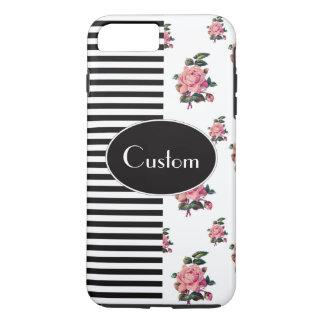 Half and Half Stripe and Rose Floral Custom Text iPhone 8 Plus/7 Plus Case