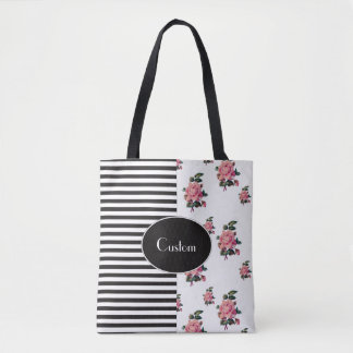 Half and Half Stripe and Rose Floral Tote Bag