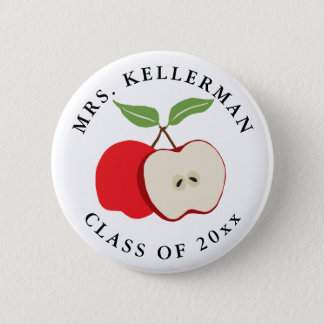 Half Apple Add Teacher's Name and Year 6 Cm Round Badge
