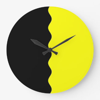 Half Black and Yellow Large Clock