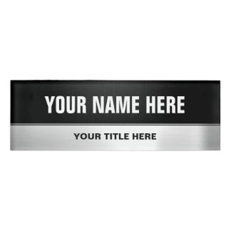 Half Black Half Silver Metal Professional Look Name Tag