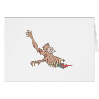 Half Bod Creepy Zombie Dragging Intestines Card
