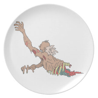 Half Bod Creepy Zombie Dragging Intestines Plate