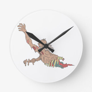 Half Bod Creepy Zombie Dragging Intestines Round Clock