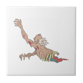 Half Bod Creepy Zombie Dragging Intestines Tile