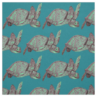 Half Brick Sea Turtles Pattern Fabric