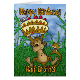 Half Brother Happy Birthday with monkey holding ca Card