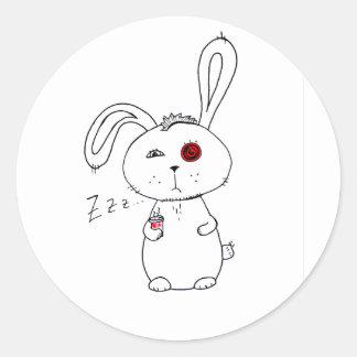 Half caffeinated rabbit classic round sticker