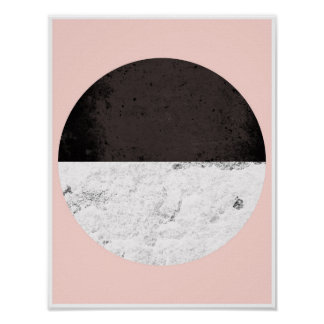 Half Circle, pink, white and black Poster