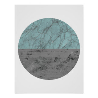 Half Circle turquoise and grey poster