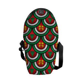Half circles green red christmas trees presents messenger bags