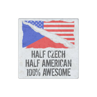 Half Czech Half American Awesome Stone Magnet