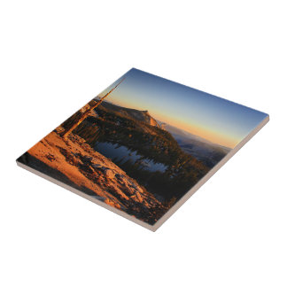 Half Dome and Clouds Rest at Sunset - Yosemite Ceramic Tile