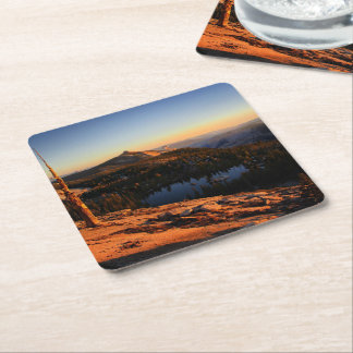 Half Dome and Clouds Rest at Sunset - Yosemite Square Paper Coaster