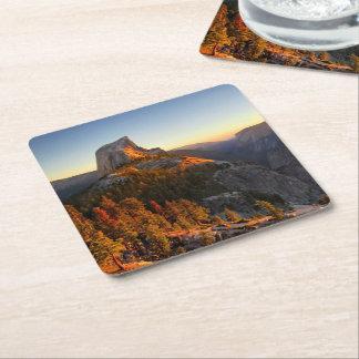 Half Dome at Sunset Detail - Yosemite Square Paper Coaster