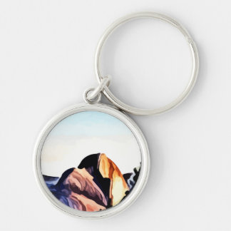 Half Dome Mountains painting Silver-Colored Round Key Ring