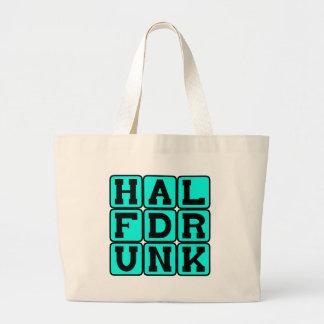 Half Drunk Optimistic Outlook Tote Bags