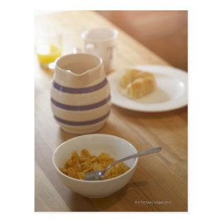 Half eaten breakfast on kitchen table postcard
