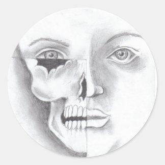 half face round sticker