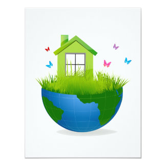 half globe with green house and birds ecolog desig personalized invites