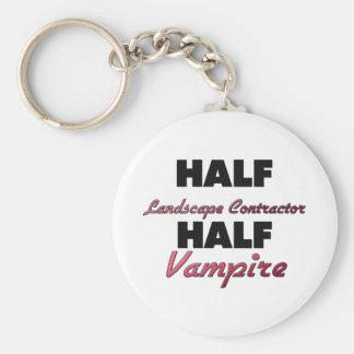 Half Landscape Contractor Half Vampire Basic Round Button Key Ring