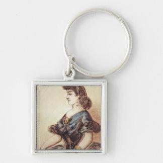 Half length portrait of a woman key chain