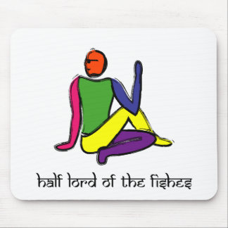 Half lord of the fishes yoga pose Sanskrit Mousepads