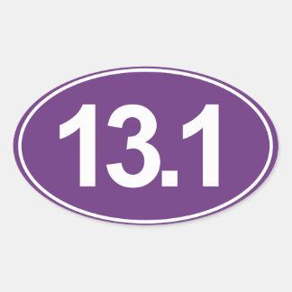 Half Marathon 13.1 Miles Oval Sticker (Purple)