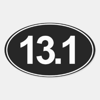 Half Marathon 13.1 Oval Sticker (Black)