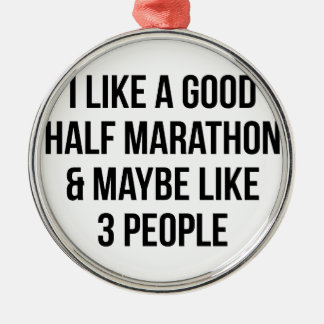 Half Marathon & 3 People Metal Ornament
