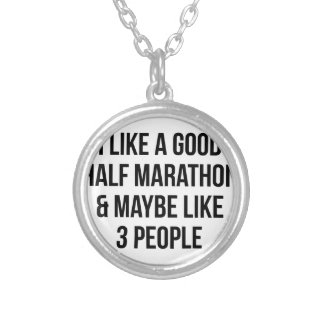 Half Marathon & 3 People Silver Plated Necklace