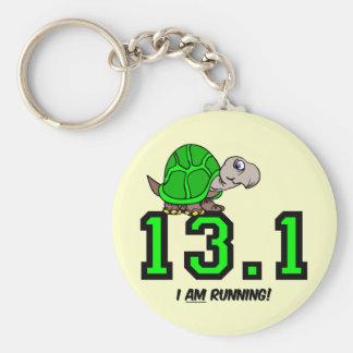 Half marathon basic round button key ring