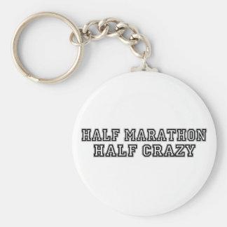 Half Marathon Half Crazy Basic Round Button Key Ring