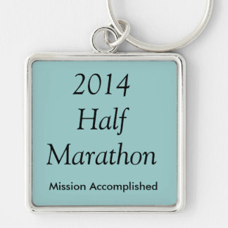 Half Marathon, Mission Accomplished! Silver-Colored Square Key Ring