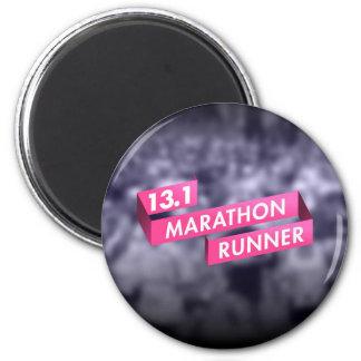 Half Marathon Runner Pink Ribbon Cancer Awareness 6 Cm Round Magnet