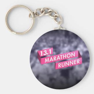Half Marathon Runner Pink Ribbon Cancer Awareness Basic Round Button Key Ring