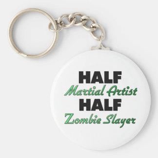 Half Martial Artist Half Zombie Slayer Basic Round Button Key Ring