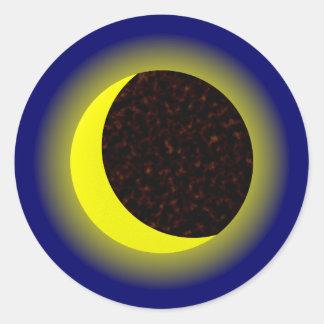 Half-moon crescent round sticker