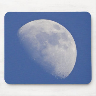 Half moon in blue sky mouse pad