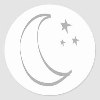 Half Moon with Stylized Stars Round Sticker