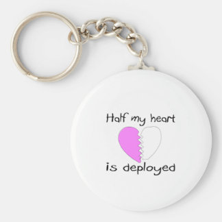 Half My Heart Is Deployed Basic Round Button Key Ring