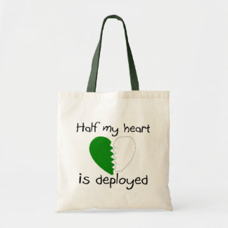 Half My Heart Is Deployed (Green) Tote Bag