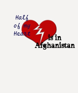 Half My Heart is in Afghanistan Military Family Tee Shirts