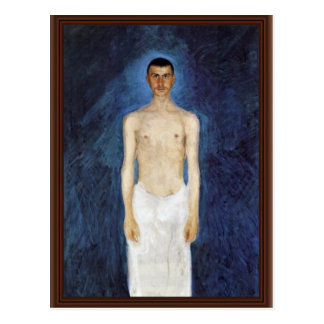 Half-Nude Self-Portrait Against A Blue Background Postcard