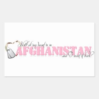 Half of my heart is in Afghanistan Rectangular Sticker