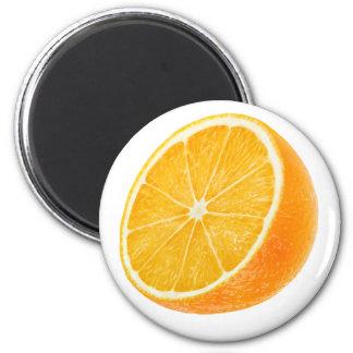 Half of orange 6 cm round magnet