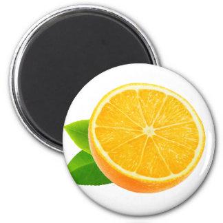 Half of orange fruit 6 cm round magnet