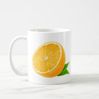 Half of orange fruit basic white mug