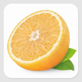 Half of orange fruit square sticker